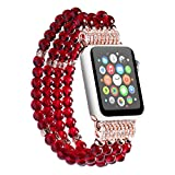 Apple Watch Bracciale catena palla catena Perler perline catena bracciale gioielli per Apple Watch Tutti i Modelli, Rot, 42