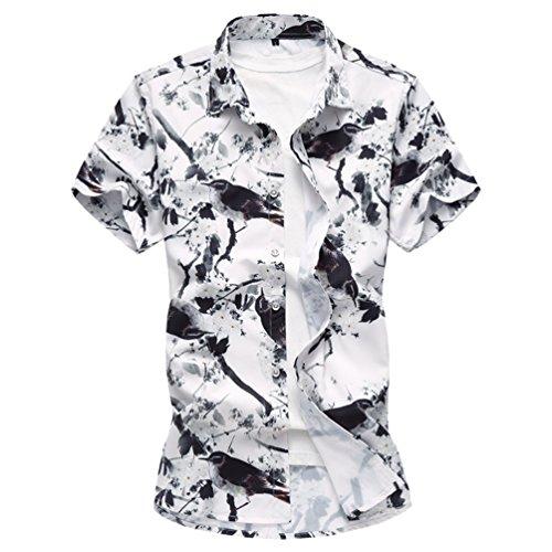 Zhiyuanan uomo fiore camicia all'aperto di grandi dimensioni a maniche corte casual camicetta con stampa floreale camicie da spiaggia hawaiane per il ragazzo grasso