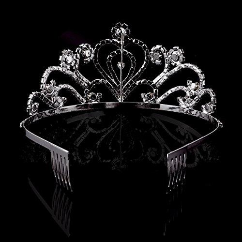 PIXNOR Tiara de cristales imitación de diamantes para boda o graduación, plateada