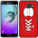 funda carcasa para Samsung Galaxy A5 2016 zapatilla cordones color rojo borde negro