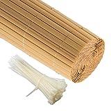 Jarolift PVC Sichtschutzzaun, Sichtschutz-Matte 80 x 300cm, bambus inkl. 50 Kabelbinder, transparent