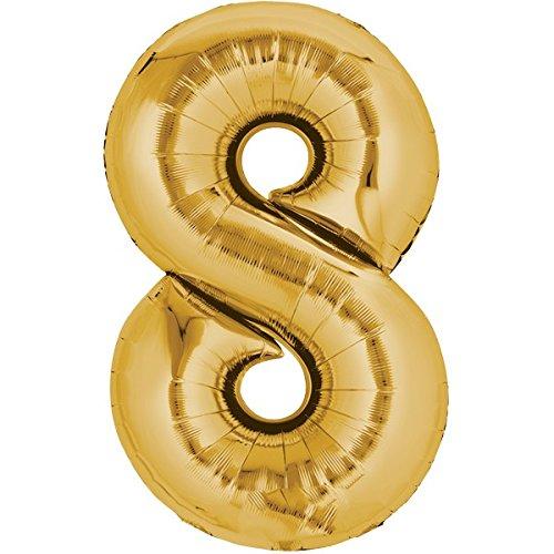Folienballon - Zahl 8 GOLD - XXL 86cm, Zahlen Luftballon + PORTOFREI mgl + Geschenkkarten Set + Helium & Ballongas geeignet. High Quality Premium Ballons vom Luftballonprofi & deutschen Heliumballon Experten. Luftballondeko zum Geburtstag oder Jubiläum. Lustiger Geburtstagsgeschenk Ballon