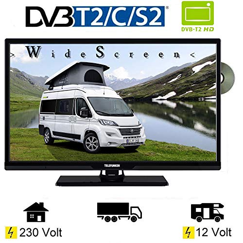 Telefunken T24X740 MOBIL LED TV DVD 24 Zoll DVB/S/S2/T2/C, USB, 12V 230 Volt (Tv 24 Zoll Led)