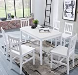 FineBuy Esstisch mit 6 Stühlen Kiefer Holz Weiß Tisch 120 x 73 x 70 cm | Esszimmerset 7 teilig | Esstischset Küche & Esszimmer | Esszimmergarnitur für 6 Personen | Tischgruppe Natur Essgruppe Landhaus