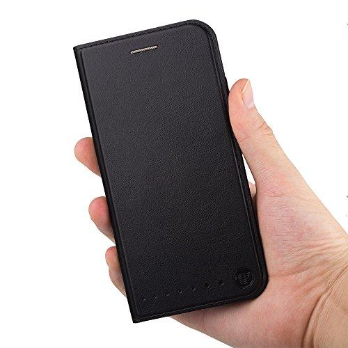 Nouske Custodia a portafoglio per iPhone 6 Plus/6s Plus Apple da 5.5 pollici con chiusura ripiegabile, oro Nero