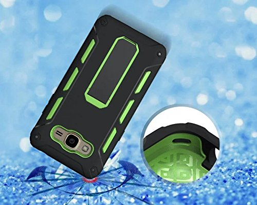 YHUISEN Galaxy J2 Prime Case, Cool Shockproof Rüstung Hybrid 2 In1 TPU und PC Rugged Dual Layer Mit Kickstand Fall für Samsung Galaxy J2 Prime ( Color : Black ) Green
