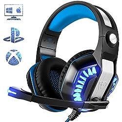 Casque Gaming pour PS4 PC Xbox One, Beexcellent Casque Gaming avec Microphone LED Lumière Professional Deep Bass Sourround pour Sony PSP Ordinateur Portable Mac
