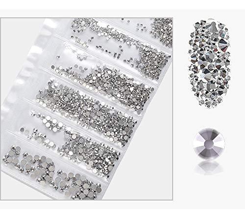 3D Dekoration Strasssteine Nail Art Strass Flat Bottom Glass Strass Verschiedene Größen Mischen SS4-SS16, Silber