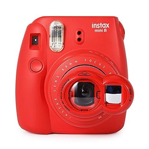 Woodmin Fujifilm Instax Selfie Objektiv Filter mit Selbstbild Spiegel für Fuji Mini 8 8+ Mini 9 Mini 7S Mini KT Instant Kamera(rot)