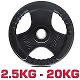 TNP Accessories® Rubber Standard 1' Radial TRI-GRIP Rubber Hammertone Disc Weight Plates EZ Bar...