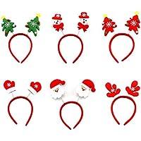 Vococal® Venda del Pelo de Navidad,6 Piezas Santa Claus de Navidad Diadema Bandas de Cabello para Decoración Navideña