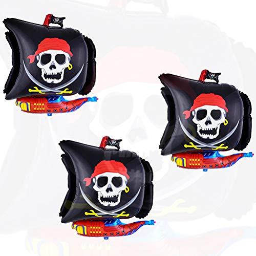 NUOBESTY Piraten Ballon für Party - 68cm Piratenschiff großer aufblasbarer Ballon, Halloween Dekoration für Kinder, 2er Pack