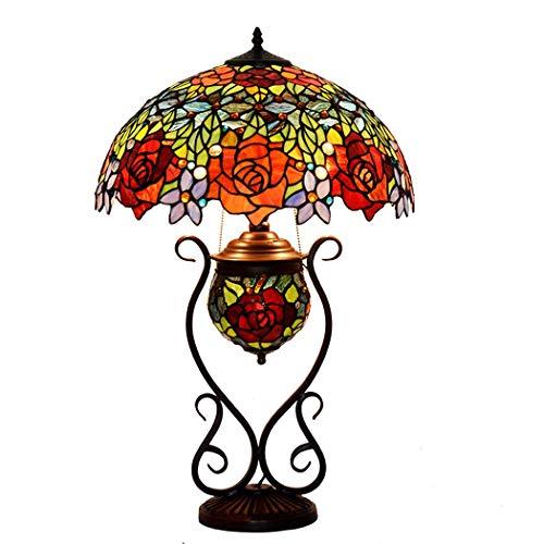 18 Zoll Rosen-Hochzeit Raumdekoration Tischlampe Tiffany-Art-handgemachte Kunst-Lampe for Kinderzimmer Wohnzimmer Schlafzimmer Antike Tisch Kommode neben Couchtisch Bücherregal DENG20191011 -