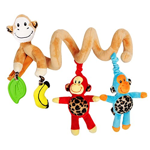 Culla giocattolo del bambino - Carino disegno della scimmia Nuovo Infant Giocattoli - Bambino di attività della sede Bed Car Toys - Giocattoli avvolgere intorno Culla - Passeggino Giocattoli per 0-36 mesi bambino
