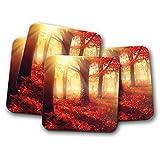 4Set, wunderschönen Bäume im Herbst Kork, die Getränke Untersetzer–Sunset Tree Leaf # 8282
