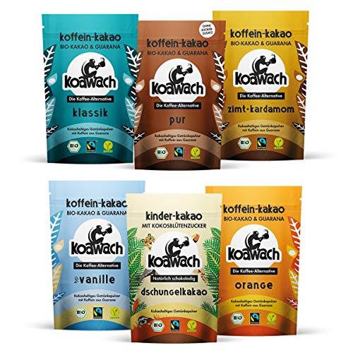 koawach Probierset (6x Kakaopulver à 100g) Kakao mit Koffein aus Guarana - Bio Vegan Fairtrade