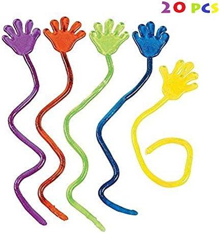 Cdet 20PCS Vinyle Glitter Mini Sticky Hands Jouets pour enfants Fête Anniversaires Couleur assortie   Grandes Variétés