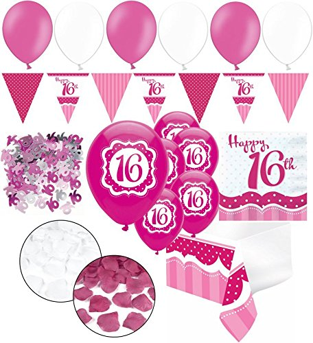 (Kids Party World XXL 35 Teile Sweet Sixteen zum 16. Geburtstag Perfectly Pink für 18 Personen - Servietten)