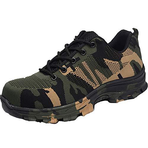 Zapatos Trabajo Hombre Zapatillas de Seguridad Puntera de Acero Mujer Botas Proteccion Excursionismo Caminar Sneakers Antideslizante Plataforma Camuflaje de Verde 44