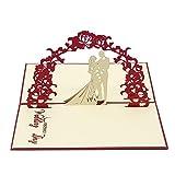 Gold Pear Sweet Lover 3D Pop up Grußkarten mit Umschlag, Einladung Hochzeit Gratulation Best Wish für Pärchen Valentine 's Day Geschenk, Bezug rot