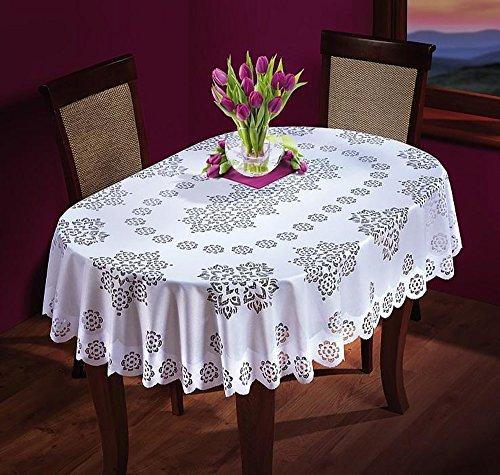 Nappe ovale blanche - Grande ou moyenne - De qualité supérieure., Polyester, blanc, 55\