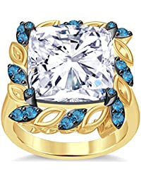 Silvernshine 6Ctw Cushion&Round Cut Aquamarine CZ Diamonds 14K Yellow Gold Plated Engagement Ring