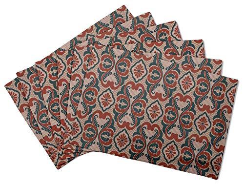 S4Sassy Rouge fleurir Damasse Set de Table réversible Tapis de Table réversible-16 x 18 Pouces-6 pièces