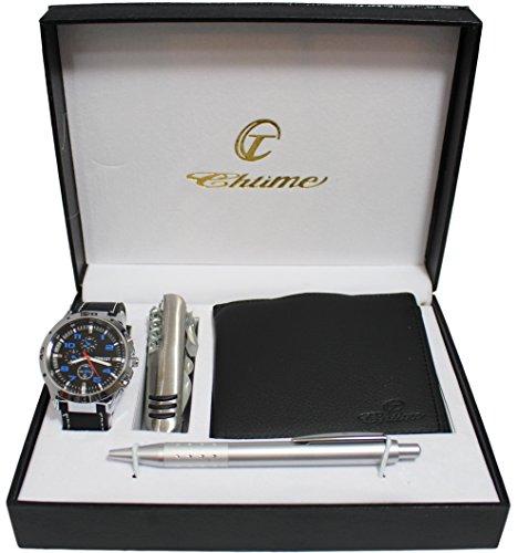 Chtime - Caja con reloj de hombre + cartera + bolígrafo + cuchillo de regalo