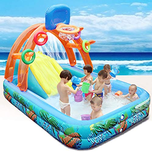 GOFEI Parco Acquatico Waves con acquascivolo, Piscina Spray per Cortile all'aperto per Bambini (Scivolo Fungo, Scivolo Basket),Basketball(224 * 132 * 135cm)