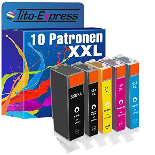 Preisvergleich Produktbild PlatinumSerie® Set 10x Tintenpatrone XXL für Canon PGI-550XL & CLI-551XL Canon Pixma IP7250 MG5450 MG6350 MX725 MX925