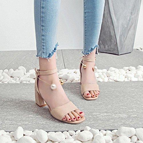 Sommer hochhackige Sandalen weibliche Perlen großen quadratischen Kopfes dick mit offenen Sandalen Schnalle meters white