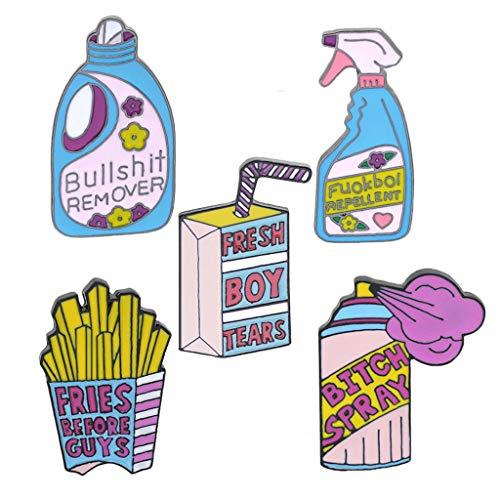 Eliky 5er Pack Süße Emaille Anstecknadeln Sets Cartoon Broschen Anstecker Für Kleidung Taschen Rucksäcke Jacken Hut DIY
