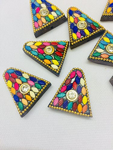 6 Wood Buttons Multicolour Buttons for Kurtis Ethnic Dresses Growns