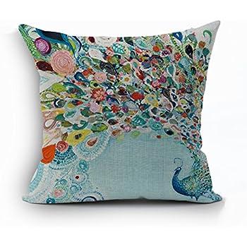 cushion pillow peacock cover multicolor polyester