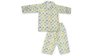 Little Bum Full Sleeves Unisex Sleepwear, 2 Piece Top and Pajama Set - 100% Cotton - Hand Block Printed Nightwear for Baby Boys and Baby Girls - (1-5 Years)