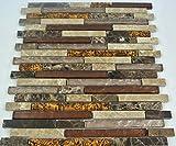 Fliesen Glas- Mosaikfliese Bad Marmor braun beige Naturstein Mosaik 8mm Neu #004