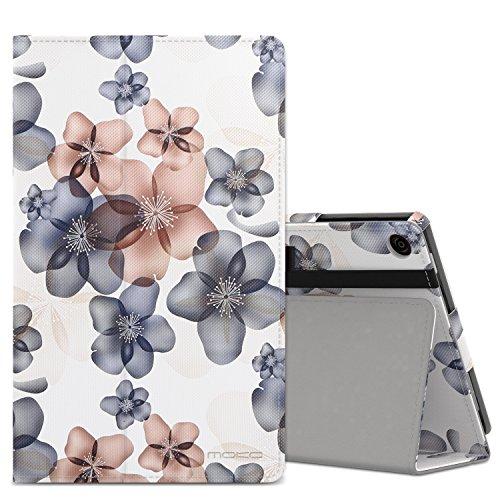 MoKo Hülle für Fire HD 8 2016 - Kunstleder Ständer Schutzhülle Smart Cover mit Auto Schlaf / Wach Funktion und Stift-Schleife für das neue Fire HD 8 Tablet (6. Generation - 2016), Blumen Marineblau