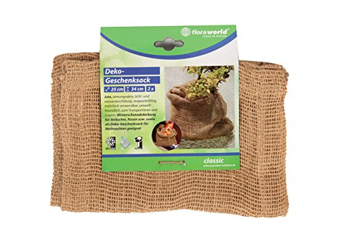 Floraworld 012065 de décoration Cadeau Sac Lot de 2 Classic, Naturel, 4 x 25 x 34 cm