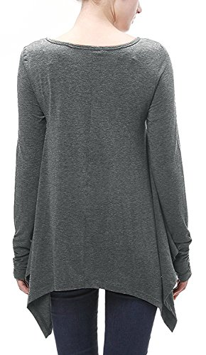 Minetom Damen Elegant V-Ausschnitt Langarm Einfarbig T-Shirt Mode Lässig Lose Unregelmäßigen Saum Finger-Sets Tops Hemd Bluse Oberteil Dunkelgrau