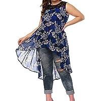 9d7097085 HHYTGRT Mujer Tallas Grandes Diariamente Básico Vestido asimétrico Suelto  de Encaje Rojo Azul Marino Fucsia XXXL