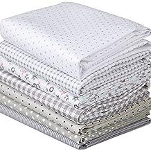 Flor de la tela de algodón de punto de algodón de Gaza bricolaje acolchar Bundle Tela de Patchwork manualidades 7 diseños 40x50cm Color Gris