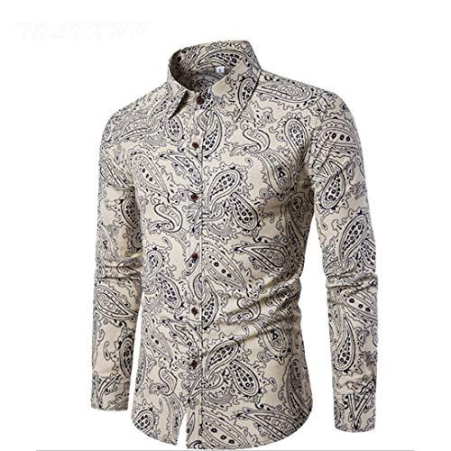 Shirt Flachs Kleid Hemden Slim Fit Turn Down Männer Langarm Herren Hawaii Hemd Große Größen CS2 Asian Größe 3XL
