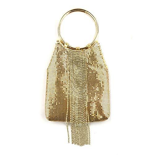 DUmulan Clutches Dinner Bag Fransen Aluminium Flake Diamond HandtaschenSoft Golden -
