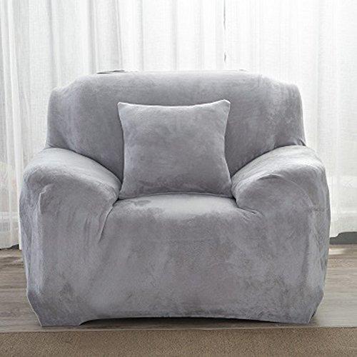 Dicke Sofaüberzüge, 1/2/3/4-Sitz-Überwurf, Sofa Schutzüberzug aus Samt. einfache Passform, Stretch-Material, Couch-/Bettüberwurf, hellgrau, 1 Seater:90-140cm