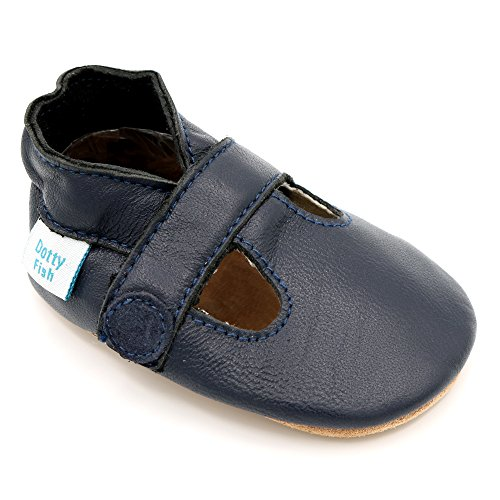 Dotty Fish - Chaussures cuir souple bébé – Garçons T-Bar