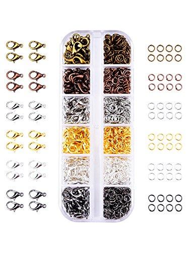 6 Farben Hummer Greifer Haken Karabinerhaken und 6 Farben Öffnen Sprung Ringe für Schmuckherstellung