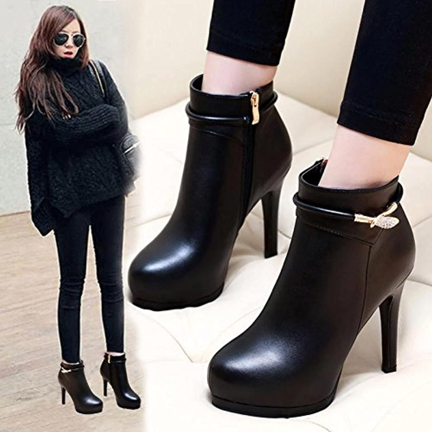 c90bf68f59f GTVERNH-Autumn and winter fine and and and short boots women s ...