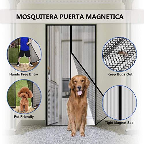 SODKK Fliegengitter tür, Insektenschutz Tür mit Klettband, Magnet Fliegenvorhang, faltbar, Luft kann frei strömen, für Flure, Türen, Patio - Schwarz 100x195cm(39x76inch)