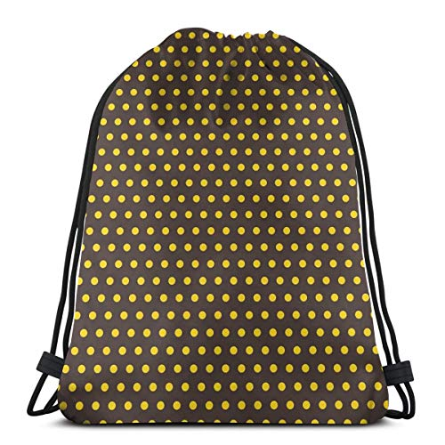Jiger Drawstring Tote Bag Gym Bags Storage Backpack, Pop Art 50s 60s Retro Design with Polka Dots Circles Image Art Print,Very Strong Premium Quality Gym Bag for Adults & Children -