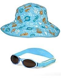 Paquet Cadeau Lunettes Bébé Babybanz Aqua et un bob réversible de protection UV 0-5 ans